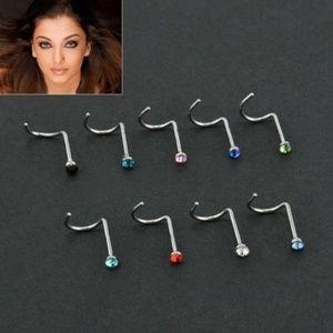 Jewelry - NWT 10x Crystal Stainless Steel Nose Hoop Rings